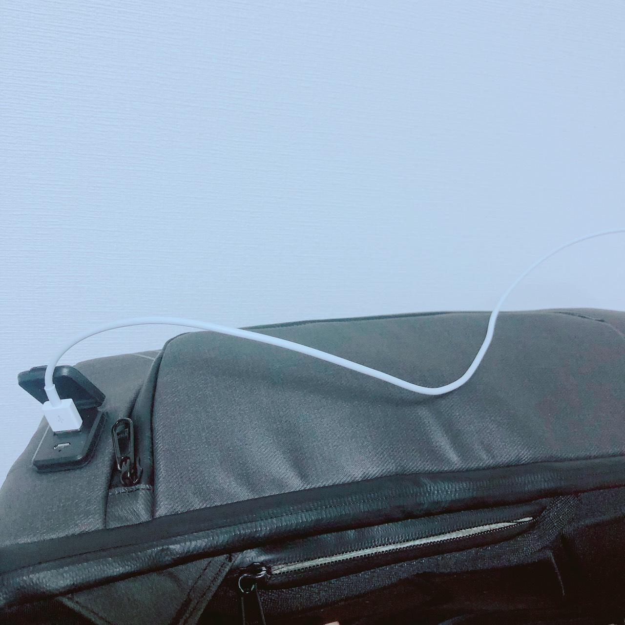 ビームバックパックの側面から充電可能