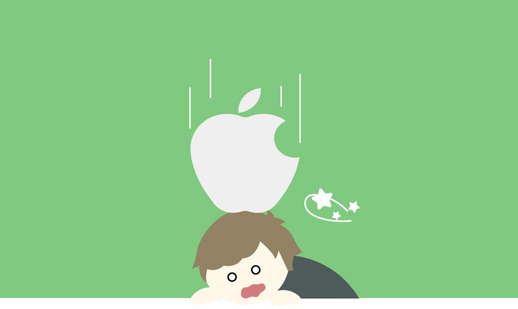 Apple信者がAppleのロゴに潰される画像