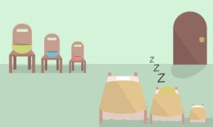 ゴルディロックス効果の3匹のクマのベットで寝る画像