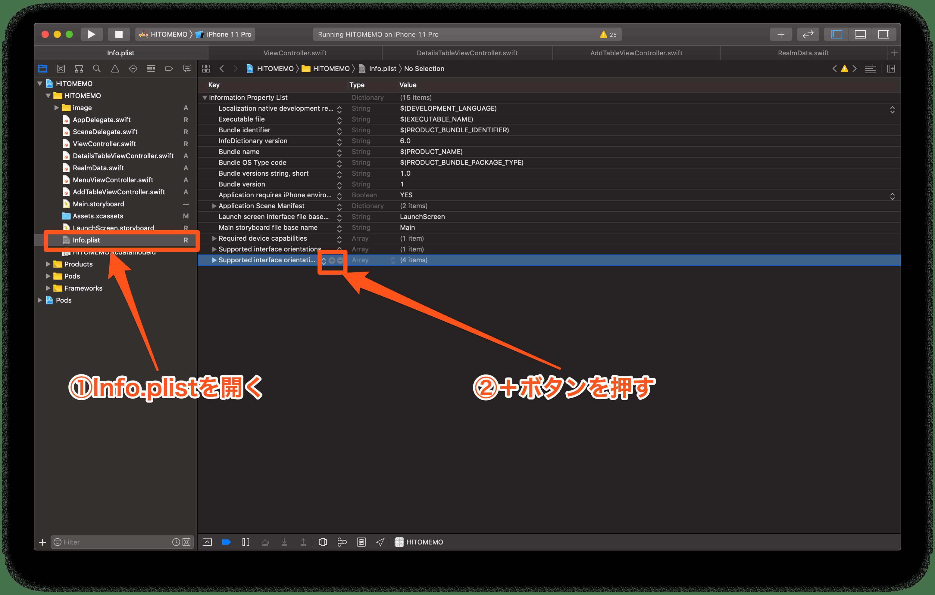 info.plistを開き、+ボタンを押す画像